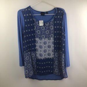 BLUE SAKS FIFTH AVENUE 3/4 sleeve top